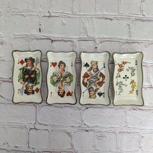 Vintage Clay Art Ceramic Playing Card  Snack